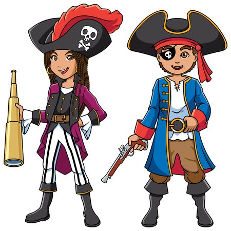 Full length illustration of two cute and happy children, boy and girl, smiling while wearing pirate costumes during carnival party against white background for copy space.