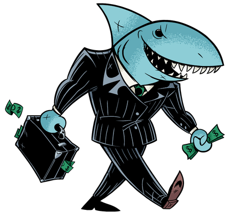 Concept illustration with cartoon business shark holding briefcase. Vettoriali