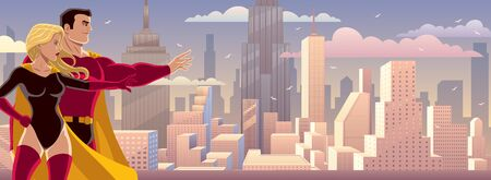 Male and female superheroes presenting something, with cityscape as background. Banque d'images - 128028036