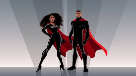 Male and female black superheroes posing in front of light.