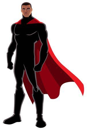 Super-héros noir puissant avec cape rouge posant sur fond blanc.