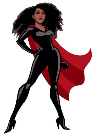 Black superheroine with red cape standing tall over white background.