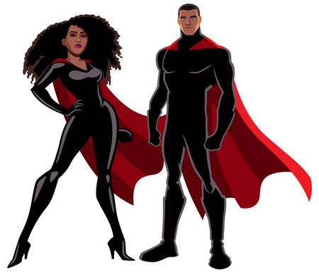 Male and female black superheroes posing on white background.