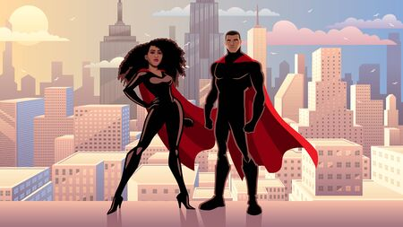 Male and female black superheroes posing in front of beautiful cityscape.