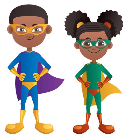 Illustration of cartoon super boy and super girl.