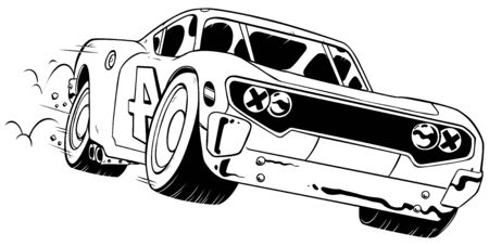 Line art illustration of speeding red race car. 写真素材 - 128028093