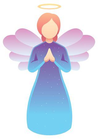Illustration simple d'ange priant sur fond blanc.