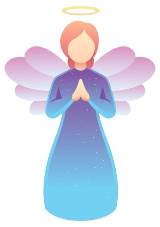 Simple illustration of praying angel on white background.