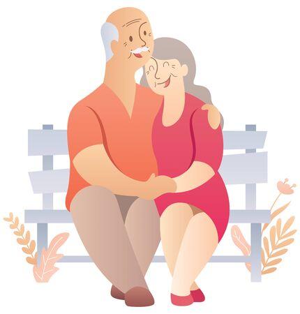 Cartoon illustration of elderly couple over white background. Stock Photo