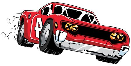 Cartoon illustration of speeding red race car.  イラスト・ベクター素材