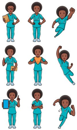 Set with cartoon female medical nurse in different poses.