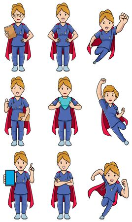 Set with female cartoon medical nurse in different poses.