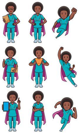 Set with cartoon female superhero medical nurse in different poses.