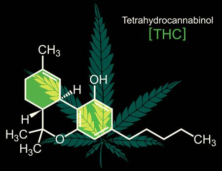 Concept illustration for THC, hemp or cannabis oil with THC molecule.