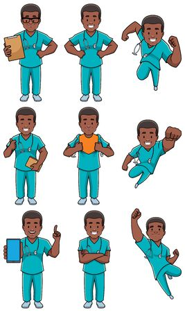 Set with cartoon male medical nurse in different poses.