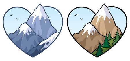 Concept illustration for love of mountains and nature, in 2 versions. Illustration