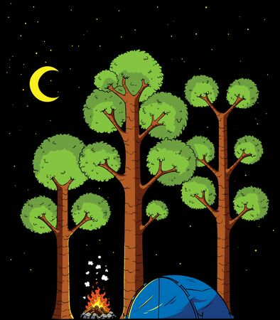 Cartoon illustration of forest camp at night.