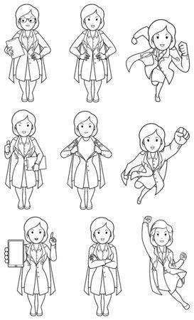 Set with female cartoon medical doctor in different poses. Ilustração