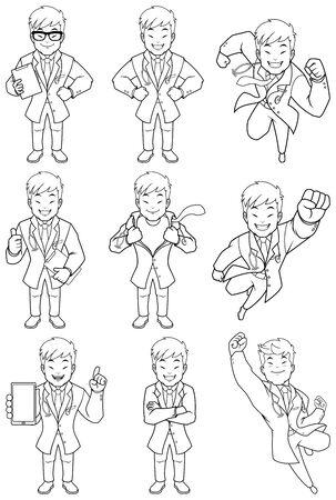 Set with cartoon medical doctor in different poses. Ilustração