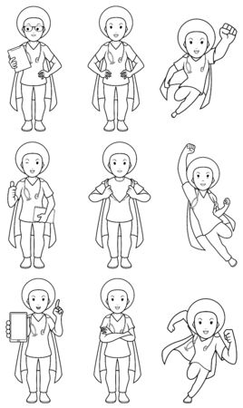 Set with cartoon female superhero medical nurse in different poses. Illustration