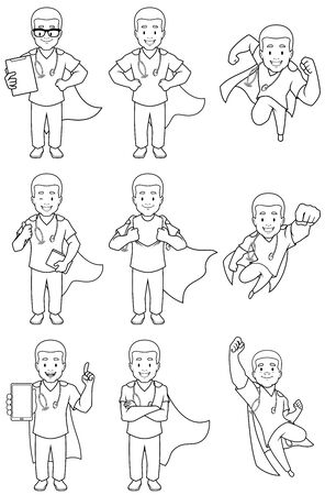 Set with cartoon male superhero medical nurse in different poses. 일러스트