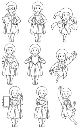 Set with cartoon female superhero medical doctor in different poses.