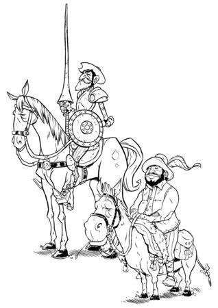 Ilustración de arte lineal de Don Quijote y Sancho Panza aislado sobre fondo blanco.