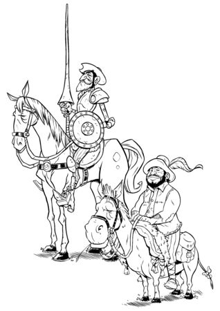 Line art illustration of Don Quixote and Sancho Panza isolated on white background.