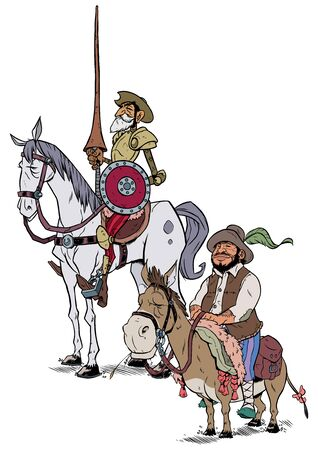 Ilustración de dibujos animados de Don Quijote y Sancho Panza aislado sobre fondo blanco.