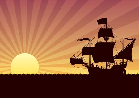 Cartoon illustration of sailing ship at sunset. 矢量图像