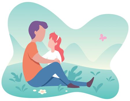 Flat design illustration of happy father and daughter having fun outside and on white background. Illusztráció