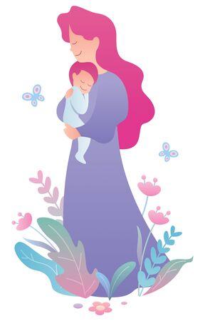 Flat design illustration of mother and child on white background. Illustration