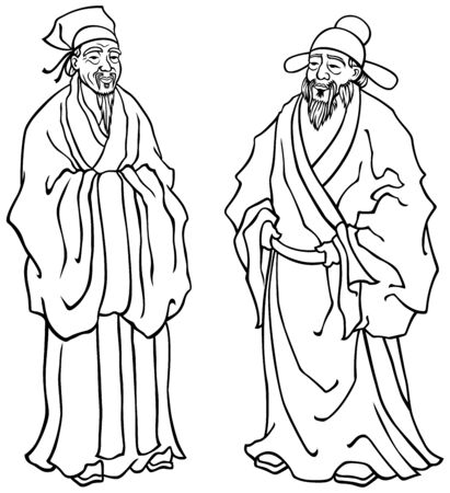 Vector illustration of Chinese elders in black and white for coloring. Vector Illustration
