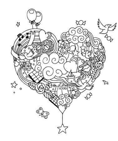 Ręcznie rysowane miłość doodle w czerni i bieli do kolorowania.
