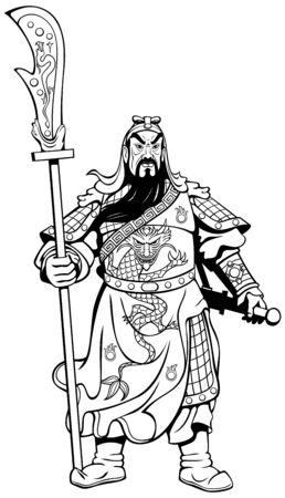 Vector line art illustration of the legendary Chinese general Guan Yu. 向量圖像