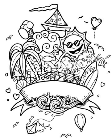 Hand drawn summer doodle in black and white for coloring.