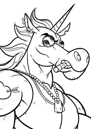 Cartoon portrait of unicorn soldier character in black and white for coloring. 일러스트