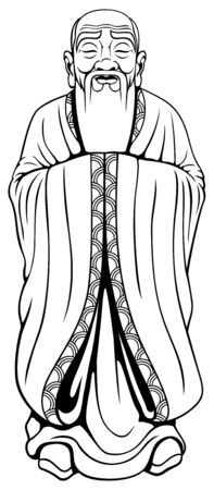 Vector illustration of Asian wise man in in black and white for coloring.