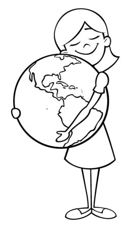 Line art illustration of little girl hugging the Earth.