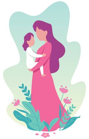 Flat design illustration of young mother holding her little daughter.  イラスト・ベクター素材