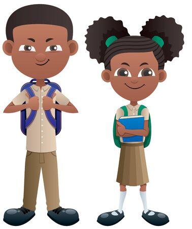 Vector illustration of black schoolboy and schoolgirl. Ilustração