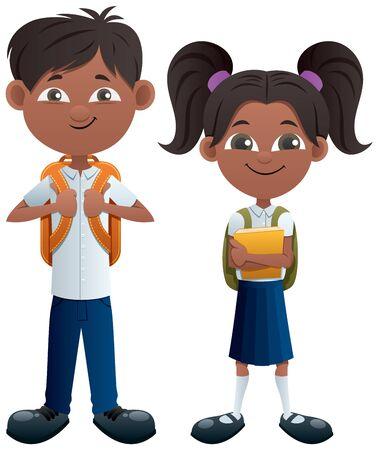 Vector illustration of Indian schoolboy and schoolgirl. 스톡 콘텐츠 - 128774773