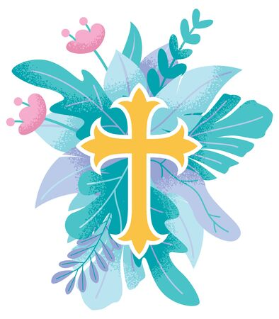 Abstract illustration of Christian cross symbol with floral ornaments around it. Foto de archivo - 129719903