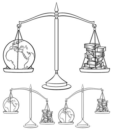Conceptual illustration on environmental theme, representing Earth weighted on scales against money. It is in 3 versions.