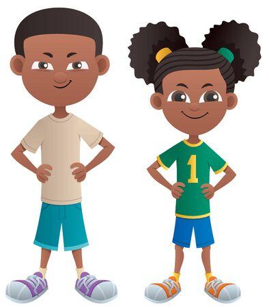 Niño de dibujos animados negro y una niña posando de pie.