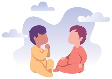 Flat design illustration of 2 happy babies playing together.