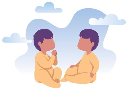 Flat design illustration of happy baby twins playing together.