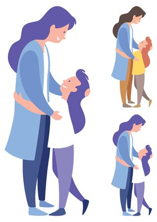 Stylized illustration of mother and daughter in 3 versions.
