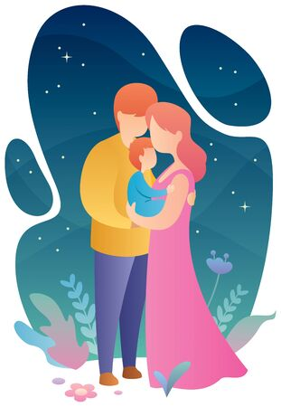 Flat design illustration of mother, father and child.
