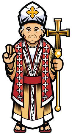 Papa, vescovo o mascotte cardinale cattolico su sfondo bianco. Vettoriali